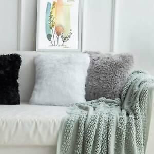 """4X Faux Fur Cushion Covers Pillowcase Pillow Cushion Cover Home Decor 17 x 17"""""""