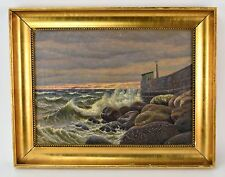 1921 Signed Danish Oil Painting Seawall w Shed Crashing Waves Freighter at Sea