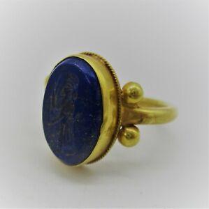 ANCIENT SASANIAN LAPIS STONE INTAGLIO SET IN HIGH CARAT GOLD RING SUPERB