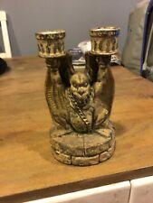 evil devilish gargoyle double candle holder cast stone Halloween decoration