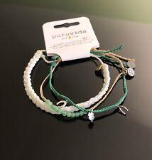 Pura Vida Lucky Charm Crystal Bead cord bracelets Set Of 3 NWT