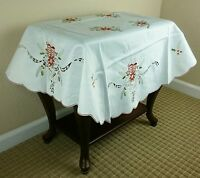 Holiday Embroidered Christmas Candle Poinsettia Bell Tablecloth 45x45'' Round