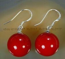 Fashion 10mm Red Shell Pearl Beads Silver Drop/Dangle Hook Earrings