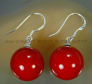 Fashion 10mm Red Shell Pearl Round Beads Silver Drop/Dangle Hook Earrings