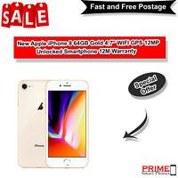 "New Apple iPhone 8 64GB Gold 4.7"" WIFI GPS 12MP Unlocked Smartphone 12M Warranty"