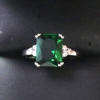 3 Ct Princess Emerald Ring Women Wedding Jewelry Gift 14K White Gold Plated
