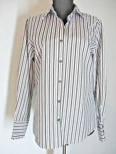 Foxcroft Blouse Shirt Size 4 Black White Gray Long Sleeves Wrinkle Free #492