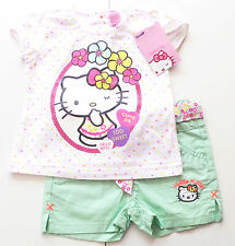 T-shirt pantaloncini tg. 74 Hello Kitty Nuovo Neon Set Baby Estate Pantaloni shorty