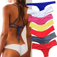 Brasileño Mujer V Tanga Atrevido Fruncido Braguita Bikini Traje de Play o Baño