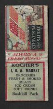 1930's Easton,PA - Bushkill Amusement Park Kocher's I. G. A. Market Matchcover