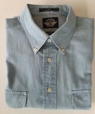 Dockers Denim Shirt Blue Button Down Pockets Long Sleeve Large
