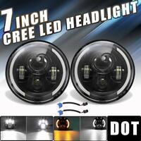 "DOT 7"" Round LED Headlights Halo Hi-Lo Beam For Porsche 911 912 914 924 928 944"