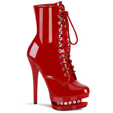 Pleaser BLONDIE-R-1020 Women's Red Patent Heel Platform Lace-Up Front Ankle Boot
