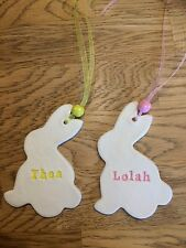 Personalised Handmade Hanging Clay Easter Rabbit Decoration/gift tag NEW