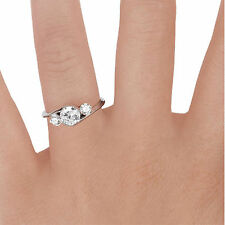 1.40 Ct Diamond Solitaire Engagement Ring 14k White Gold Finish Size N