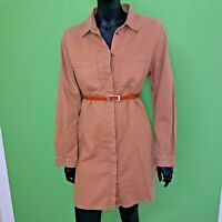 French Connection Shirt Dress Button Down Beige 100% Cotton Size 10 Holiday