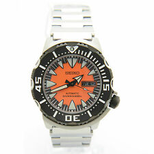 Seiko Monster SRP315K2 Orange Analog Black Bezel Stainless Steel Automatic Watch