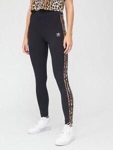 Adidas Women's Trefoil Animal Print 3 Stripes Leggings - Black/Leopard Lux - S