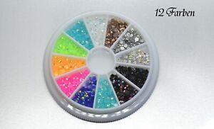 Nail Art  Strasssteine - Rondell 12 Farben Nageldesign mit Neon Farben ü.1000 St