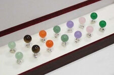 Wholesale 7pairs of 10mm colorful jade beads silver stud earrings JE234