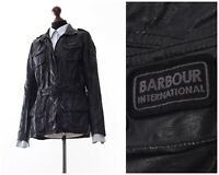 Women BARBOUR INTERNATIONAL Tartan Linen Motorcycle Jacket Black Size US 8 UK 12