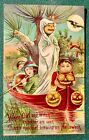 Halloween  Vintage Postcard, Pumpkin Head Ghost in Boat, JOL Headlights