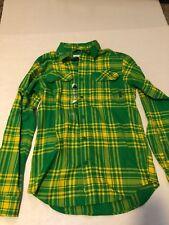 Columbia Mens Oregon Ducks Flare Gun Green and Yellow Flannel Shirt. Size Small