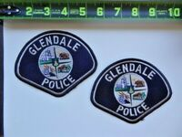 2 = Glendale Police Department PD California Blue Gray Bear Patches Set Lot Used