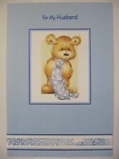LOVELY CUTE TEDDY BEAR IN A TIE FOR MY HUSBAND BIRTHDAY GREETING CARD
