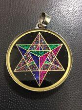 "MerKaBa Tourmaline Gemstone Necklace 1.5"" Pendant Sterling Silver Spiritual Gift"
