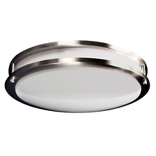 "Ceiling Flush Mount 18"" 2-Ring 3-LED Bulbs Fixture Brushed Nickel GU24 Socket"