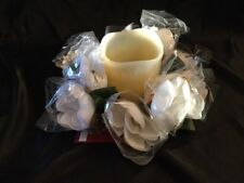 "White Silk Flowers Candle Rings 3"" Center With 8"" Overall Width"