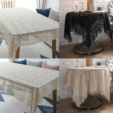 Vintage Hand Crochet Lace Doily Table Tablecloth Cover Prop Decor 70inch