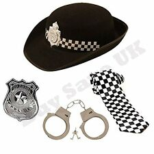 CHILDRENS KIDS GIRLS WPC POLICE HAT TIE BADGE & HANDCUFFS FANCY DRESS COSTUME