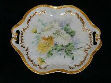 Antique Haviland Limoges Double Gold & Floral Handled Plate