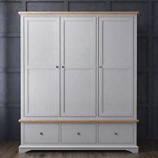Brand New Modern Two Tone Triple 3 Door Wardrobe in Solid Oak and Grey