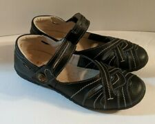 """Spring Step Womens 36 M (US 5.5-6) Black Leather """"Hearts"""" Mary Jane Comfort Shoe"""