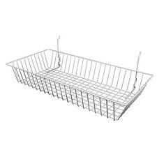"""Only Hangers White Slatwall Gridwall Multi Basket 24"""" W x12"""" D x 4""""H 3pk"""