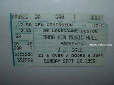 J J CALE Concert Ticket Stub 1996 BOSTON MAMA KIN MUSIC HALL Clapton VERY RARE
