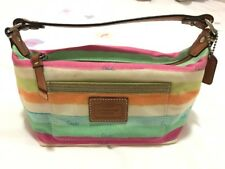 Coach Small Summer Legacy Stripe Rainbow Water Colour Leather Canvas Handbag
