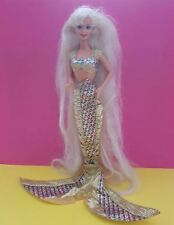 poupée barbie vintage superstar hair mermaid sirene or gold long cheveux