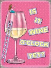 Wine O'Clock? Pink and Girly Retro Funny Humour Kitchen Medium Metal/Tin Sign