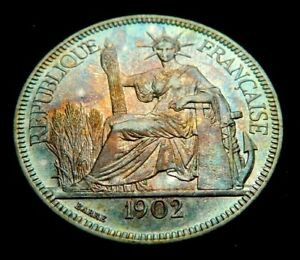 1902-A French Indo-China - Large Silver Piastre