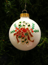 MERCURY STYLE GLASS WHITE w/ GLITTER CANDY CANE & RED RIBBON CHRISTMAS ORNAMENT