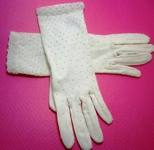 Eggshell 100% Nylon Gloves One Size Fits All~Jeweled w/ Tiny FAUX Seed Pearls