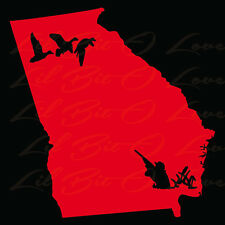 Georgia State Silhouette with Ducks and Duck Hunter Vinyl Decal Sticker Hunting