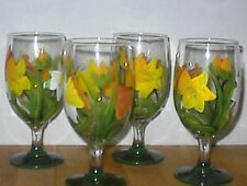 HAND PAINTED DAFFODIL ICE TEAS / SET OF 4(MADE IN THE USA)