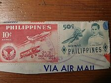 Vintage 1960's Stamps - Philippines 25th Anniv 10 cent & 50 cent Air Mail Pair
