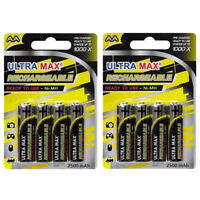 8 x UltraMax AA 2500mAh Rechargeable Ni-MH Ready to use Batteries High Capacity