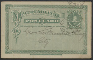 1894 Newfoundland #P3 1c PSC, St Johns CDS, Auxiliary Bible Society Message